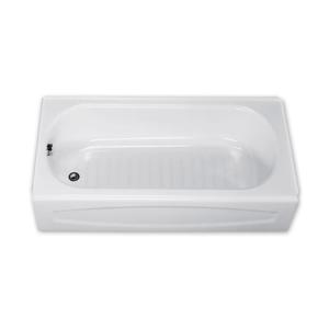 New Solar White Left Hand Drain Above Floor Rough Steel Tub