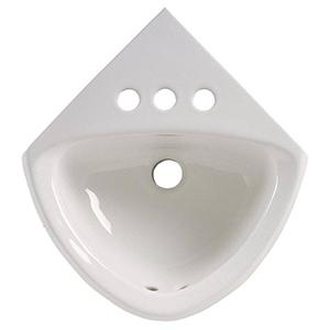 "Corner Minette White Wall Mounted 4"" Centers Lavatory Sink"