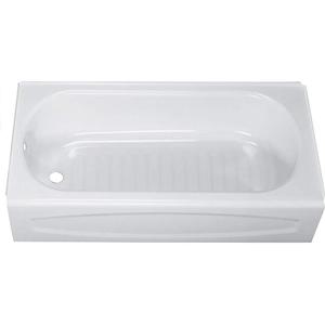 New Solar White Right Hand Drain Above Floor Rough Steel Tub