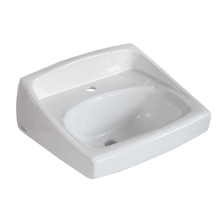 Lucerne White Wall Mounted One Hole Lavatory Sink
