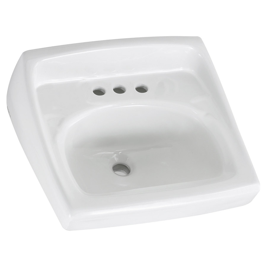 "Lucerne White Wall Mounted 8"" Centers Lavatory Sink"