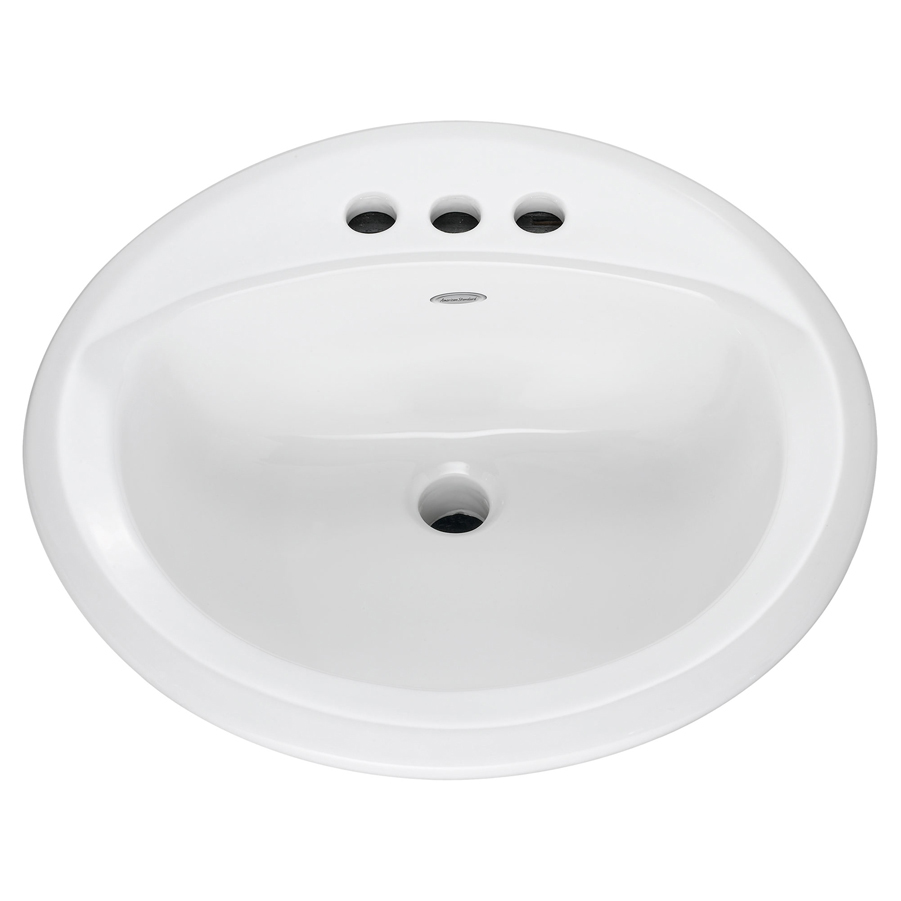 """Rondalyn White Round Self Rimming Drop In 4"""" Centers Lavatory Sink"""