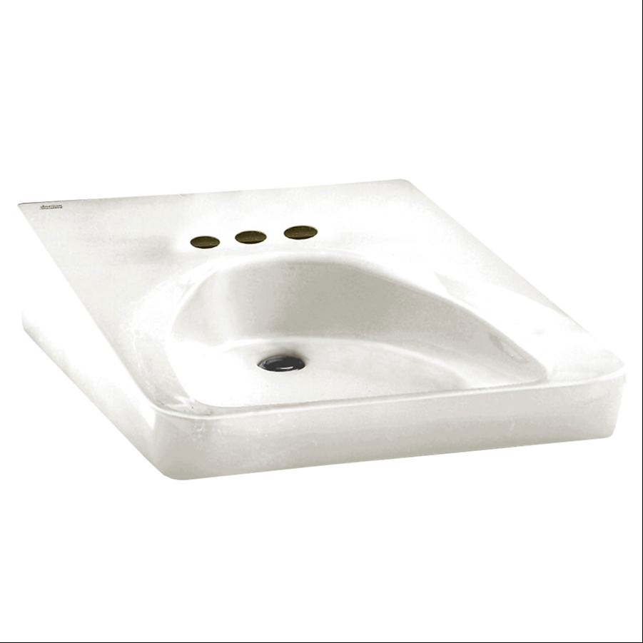 "Wheelchair Users White Wall Mounted 4"" Centers Lavatory Sink"