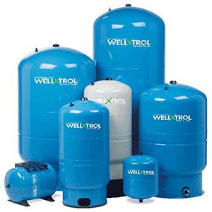 "Diaphragm Well Tank, 26"" X 47"", 1-1/4"" MPT X 1-1/4"" MPT, 86 Gallon, 150 PSI, Lead-free, Tuf-kote Hg Blue Steel, Vertical, Stand"