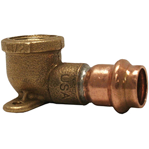 "¾"" Copper x Female Copper And Brass 90 Degree Drop Ear Elbow"