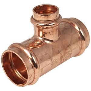 """1 ½"""" x 1 ½"""" x 1"""" Press Copper Rubber and Silicone Reducing Tee"""