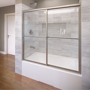 "60"" X 58-1/2"", 3/16"" Tempered Glass, Silver, In-line, Sliding, Bypass, Deluxe Framed, Shower Door"