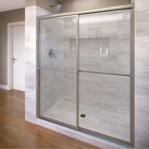 "Deluxe Framed Shower Door, 3/16"" Tempered Glass, Silver, In-line, Sliding, Bypass"