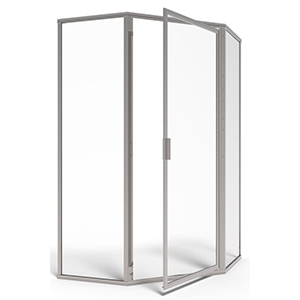 "Deluxe Framed Shower Door, 15-1/2"" X 26-1/2"" X 15-1/2"" Centerline, 68-5/8"" H, 3/16"" Tempered Glass, Silver, Swing, Neo-angle"
