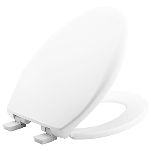 """White, Closed Front, Elongated, 14"""" X 18-5/16 To 18-13/16"""", Whisper Close/Adjustable Plastic Hinge, Plastic, Toilet Seat With Cover"""