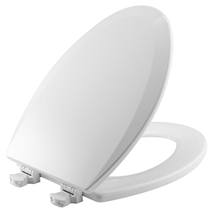 """Bone, Closed Front, Elongated, 14-1/8"""" X 18-7/8"""", Plastic Hinge, Enameled Wood, Toilet Seat With Cover"""