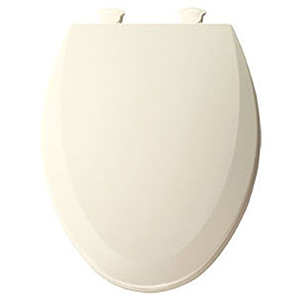 """Biscuit, Closed Front, elongated, 14-1/8"""" X 18-7/8"""", Plastic Hinge, Enameled Wood, Toilet Seat With Cover"""