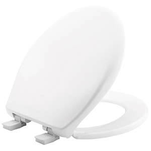 """White, Closed Front, Elongated, 14-3/8"""" X 16-15/16 To 16-13/16"""", Whisper Close/adjustable Plastic Hinge, Plastic, Toilet Seat With Cover"""