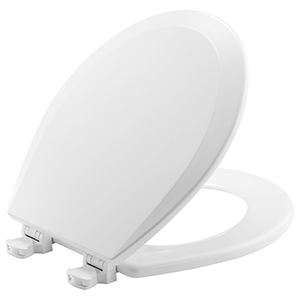 """Bone, Closed Front, Elongated, 14-3/8"""" X 16-7/8"""", Plastic Hinge, Enameled Wood, Toilet Seat With Cover"""
