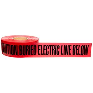 "Underground Warning Tape 3"" X 1000', Legend: Caution Buried Electric Line Below, Black Legend, Red Tape, Polyethylene, Electric Line"