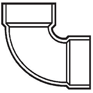 "10"" Hub Schedule 40 Fabricated PVC DWV 2 piece Straight 90 Degree Bend"