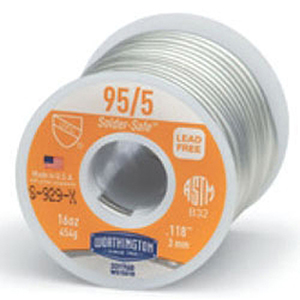 "Solder Wire (1 LB Spool) 0.118"" Diameter, Lead-Free, 5500 PSI Tensile Strength, 90 to 98% Tin, 2 to 10% Antimony, 95/5"