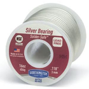 "Silver Bearing Alloy Solder (1 LB Spool) 0.118"" Diameter, Lead-Free, 6600 PSI Tensile Strength, Tin, Copper, Silver"