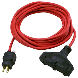 Extension Cord 25' L, 14/3, 125 V, 15 A, 1875 W, 3-Outlet, Red, Triple-Tap, Outdoor