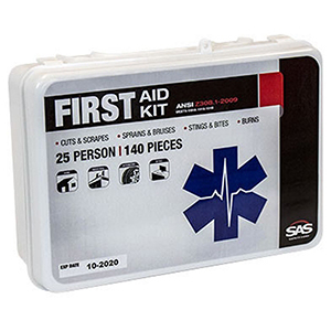 First Aid Kit 25-Person, Plastic Case, Workplace