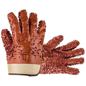 SAS Safety Dipped Gloves Red PVC Chip Sewer Gloves - One Size Fits Most (Pair)  2104441
