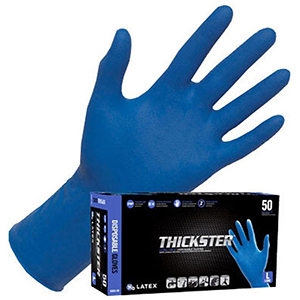 "Disposable Gloves (50 Per Box) Large, 12"" L, 14 Mil Thick, Blue, Powder-Free Exam Grade Latex, Beaded Cuff, Ultra Thick"