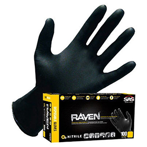 Disposable Gloves (100 Per Box) Large, 6 Mil Thick, Black, Powder-Free Exam Grade Nitrile, Extra Strength