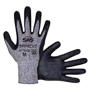 SAS Safety Cut Resistant Gloves X-Large, Black, Nitrile Palm, HPPE, Knit Cuff 2104444