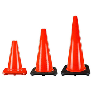 "Traffic Safety Cone 28"", Brilliant Fluorescent Red-orange, Injection Molded PVC"