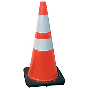 "Traffic Safety Cone With Reflective Bar 28"", Orange, Injection Molded PVC"