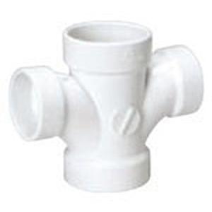 "2"" x 2"" x 1 ½"" x 1 ½"" Hub PVC DWV Reducing Double Sanitary Tee"