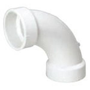 """4"""" Hub PVC DWV Long Sweep Straight 90 Degree Sanitary Elbow"""