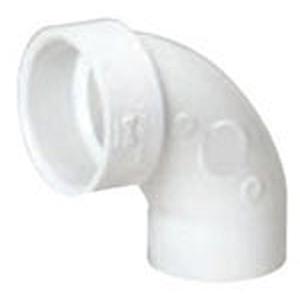 "2"" Spigot x Hub PVC DWV Street Straight 90 Degree Sanitary Elbow"