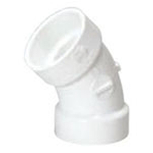 "3"" Hub PVC DWV Straight 45 Degree Sanitary Elbow"