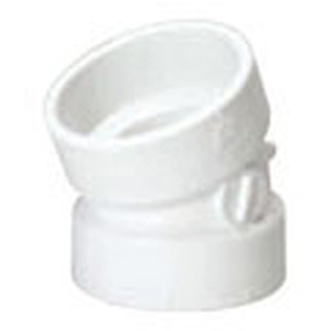 "4"" Hub PVC DWV Straight 22.5 Degree Sanitary Elbow"