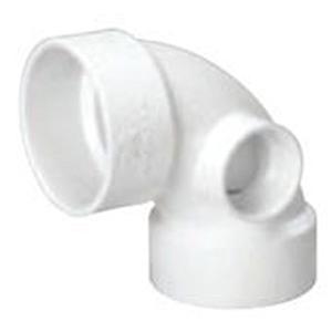 """3"""" x 3"""" x 2"""" Hub PVC DWV Side Inlet Straight 90 Degree Sanitary Elbow"""
