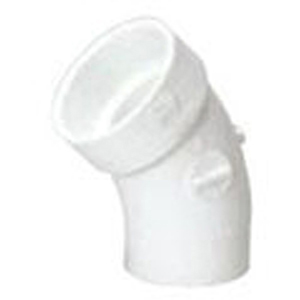 "6"" Spigot x Hub PVC DWV Street Straight 45 Degree Sanitary Elbow"