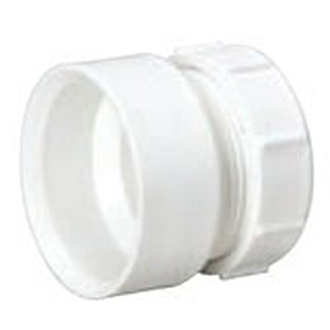 """1 ½"""" x 1 ¼"""" Hub x Slip Joint PVC DWV Trap Reducing Sanitary Female Adapter With Plastic Nut And Washer"""