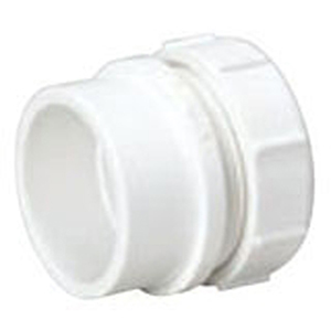 """1 ½"""" Spigot x Slip Joint PVC DWV Trap Straight Sanitary Male Adapter With Plastic Nut And Washer"""