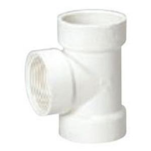 "4"" Hub x FPT PVC DWV Straight Flush Cleanout Sanitary Tee"
