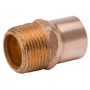 """½"""" x ¾"""" C x MPT  Lead free Wrot Copper Reducing Male Adapter"""