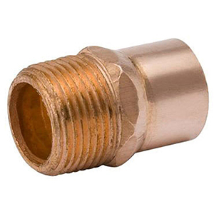"""2 ½"""" x 2 ½"""" C x MPT  Lead free Wrot Copper Straight Male Adapter"""