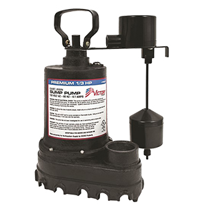 1/3 HP, 5yr Warranty, Cast Iron Submersible Sump Pump - Vertical Float